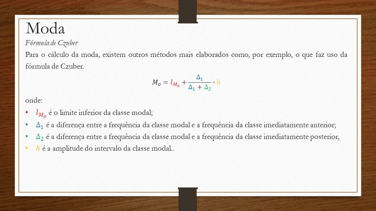Moda Fórmula de Czuber. Para o cálculo da moda, existem outros métodos mais elaborados como, por exemplo, o que faz uso da fórmula de Czuber.