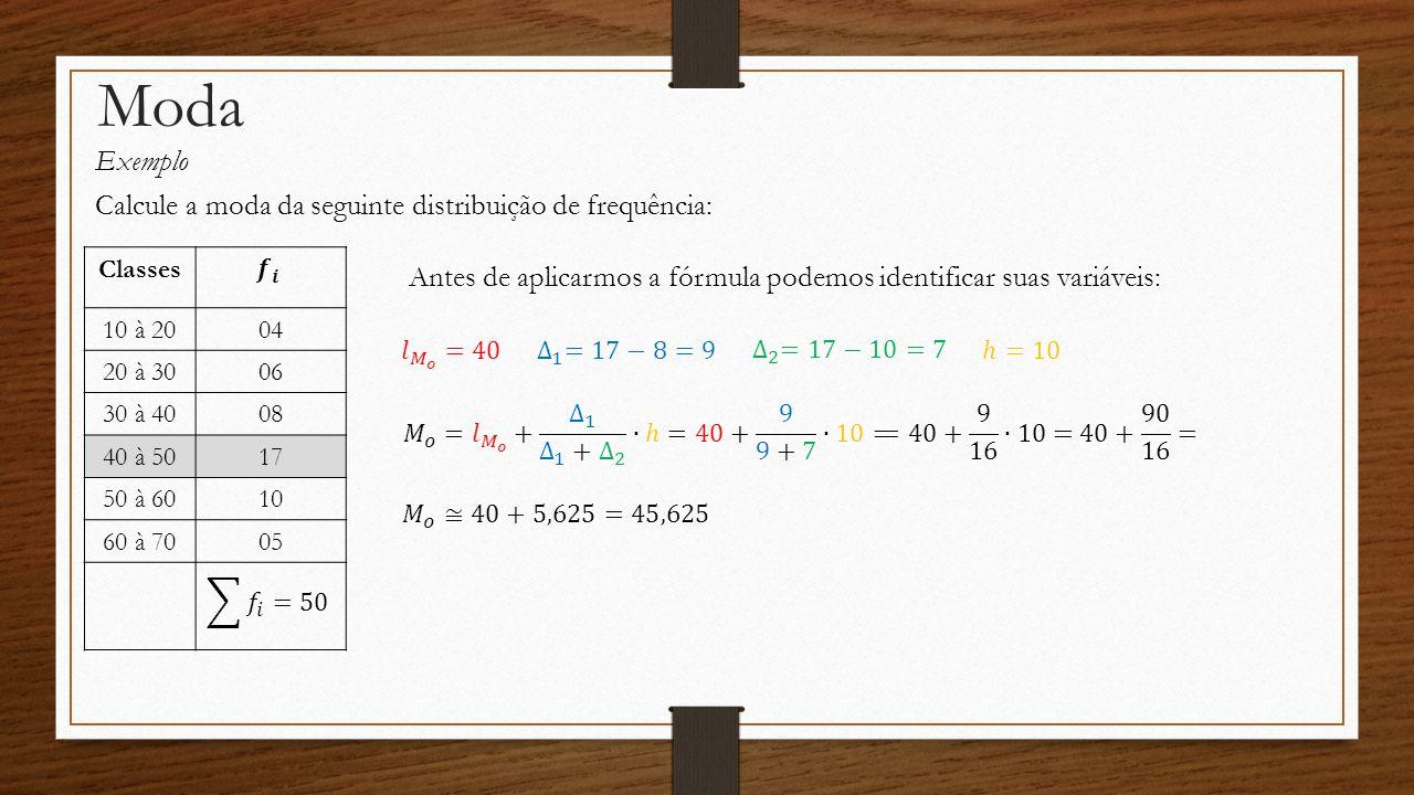 Moda Exemplo Calcule a moda da seguinte distribuição de frequência:
