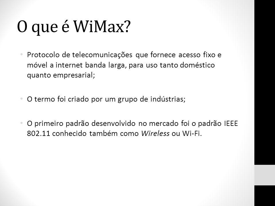 O que é WiMax Protocolo de telecomunicações que fornece acesso fixo e móvel a internet banda larga, para uso tanto doméstico quanto empresarial;
