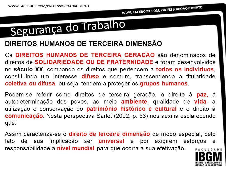 Segurança do Trabalho DIREITOS HUMANOS DE TERCEIRA DIMENSÃO