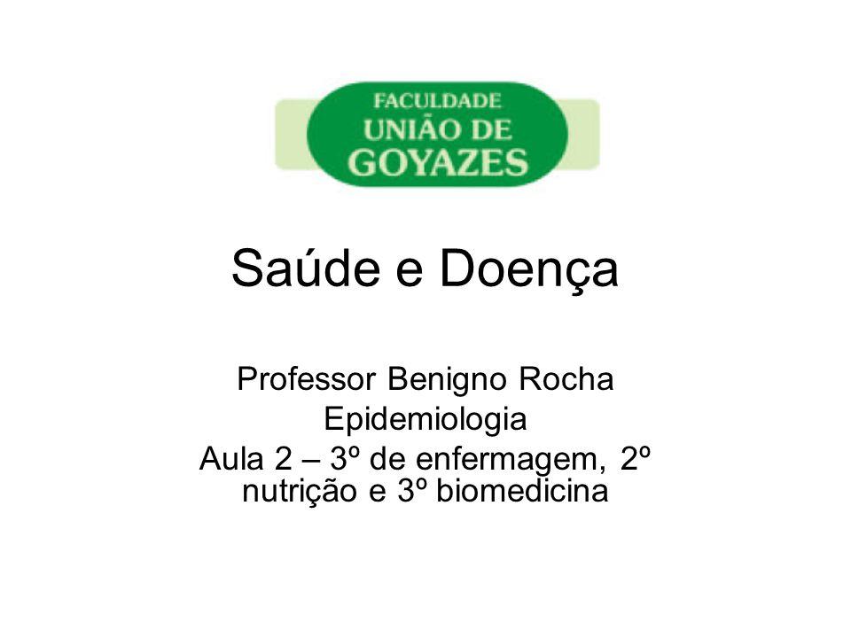 Saúde e Doença Professor Benigno Rocha Epidemiologia