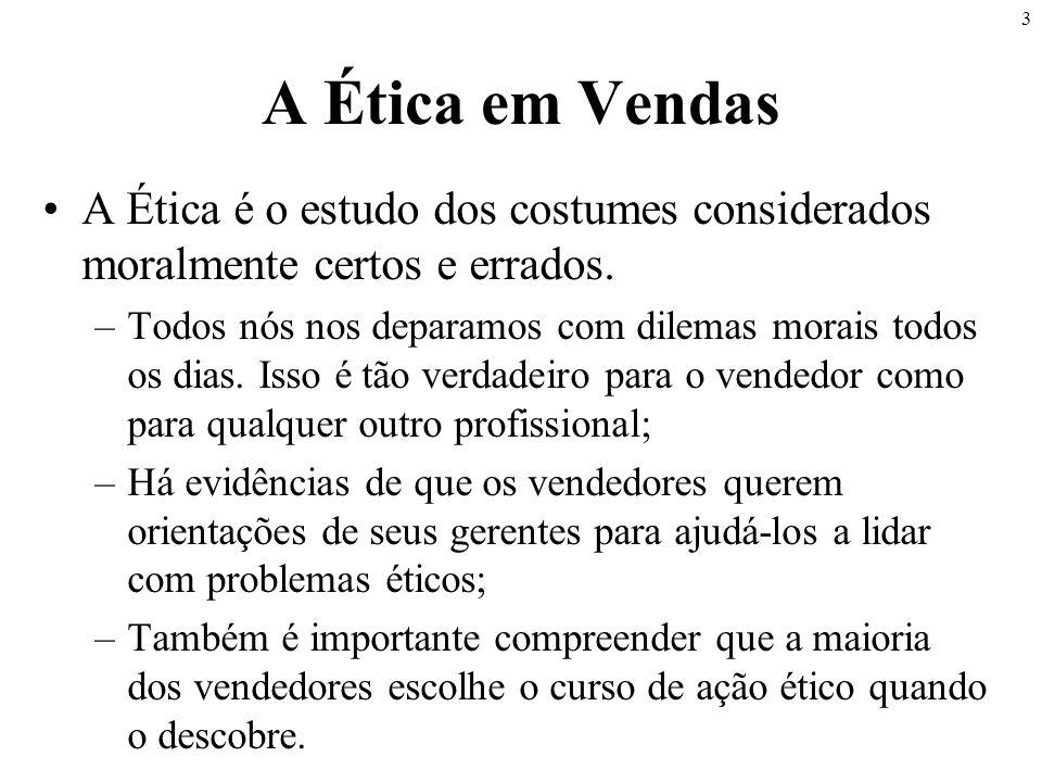 A Ética em Vendas A Ética é o estudo dos costumes considerados moralmente certos e errados.