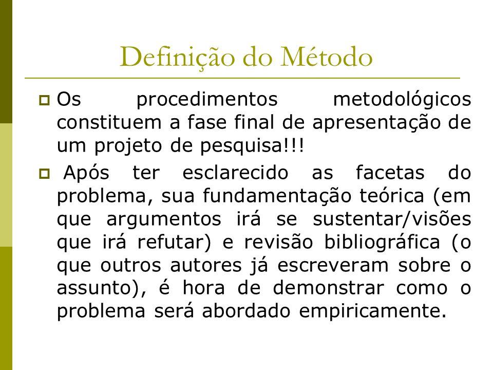 Definição do Método Os procedimentos metodológicos constituem a fase final de apresentação de um projeto de pesquisa!!!