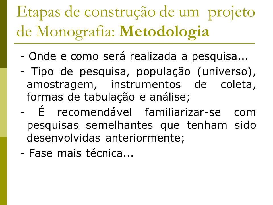 Etapas de construção de um projeto de Monografia: Metodologia