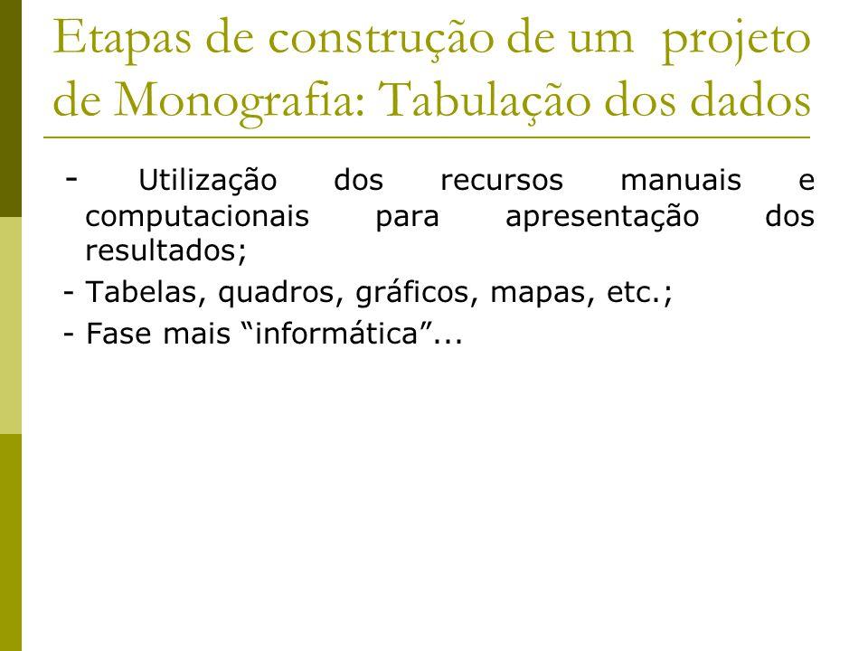 Etapas de construção de um projeto de Monografia: Tabulação dos dados