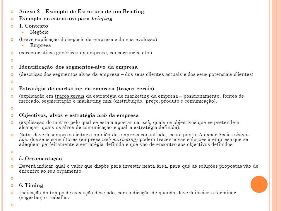 Anexo 2 – Exemplo de Estrutura de um Briefing