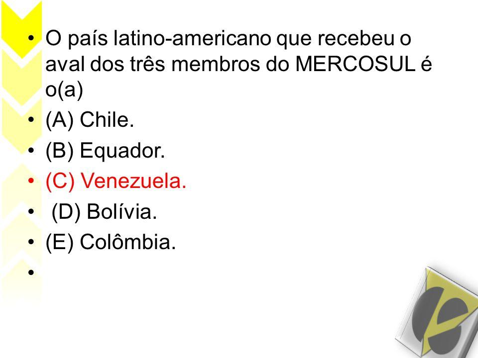 O país latino-americano que recebeu o aval dos três membros do MERCOSUL é o(a)