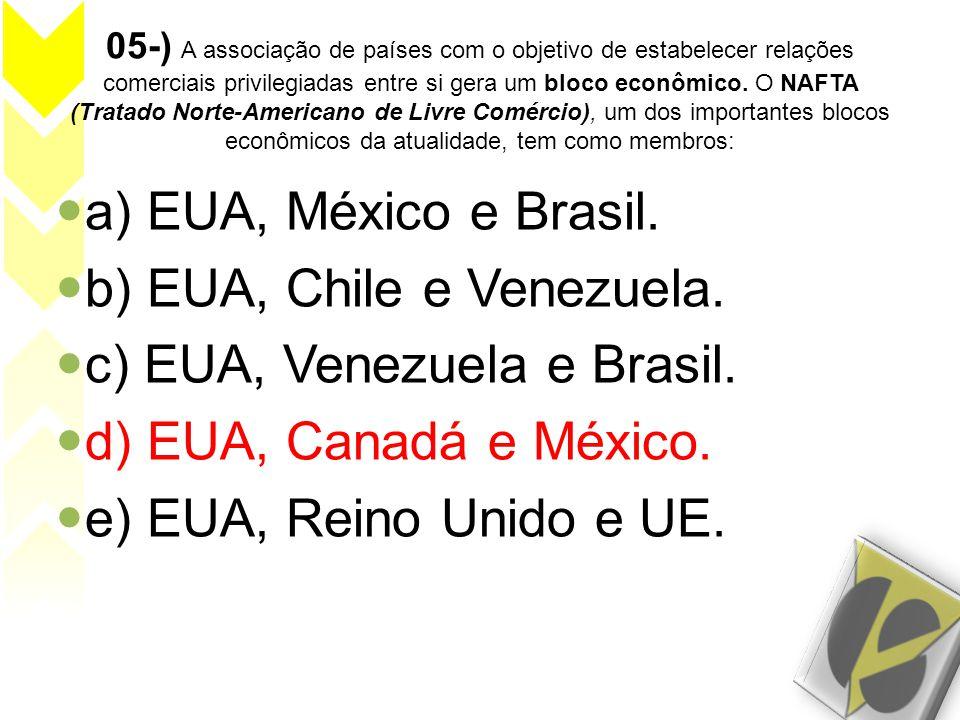 b) EUA, Chile e Venezuela. c) EUA, Venezuela e Brasil.