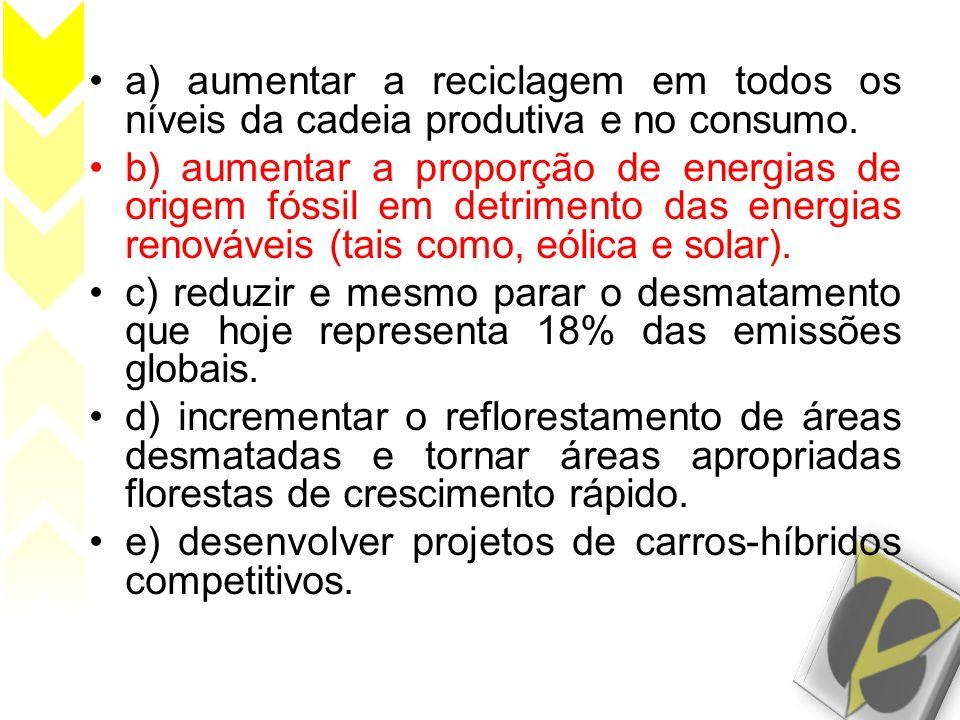 a) aumentar a reciclagem em todos os níveis da cadeia produtiva e no consumo.