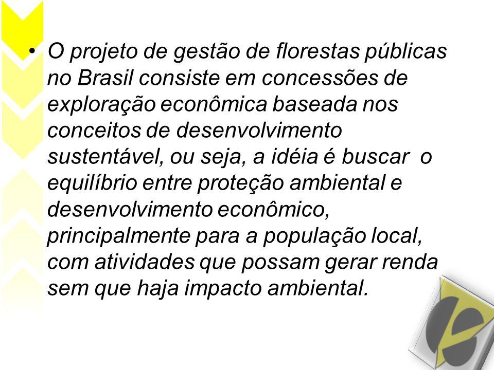 O projeto de gestão de florestas públicas no Brasil consiste em concessões de exploração econômica baseada nos conceitos de desenvolvimento sustentável, ou seja, a idéia é buscar o equilíbrio entre proteção ambiental e desenvolvimento econômico, principalmente para a população local, com atividades que possam gerar renda sem que haja impacto ambiental.