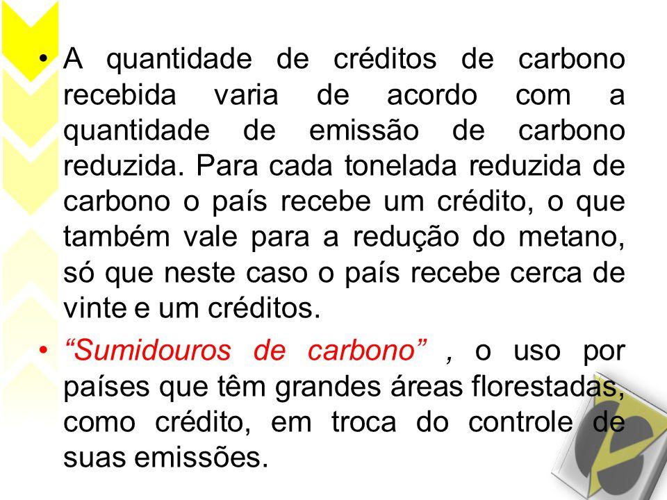 A quantidade de créditos de carbono recebida varia de acordo com a quantidade de emissão de carbono reduzida. Para cada tonelada reduzida de carbono o país recebe um crédito, o que também vale para a redução do metano, só que neste caso o país recebe cerca de vinte e um créditos.