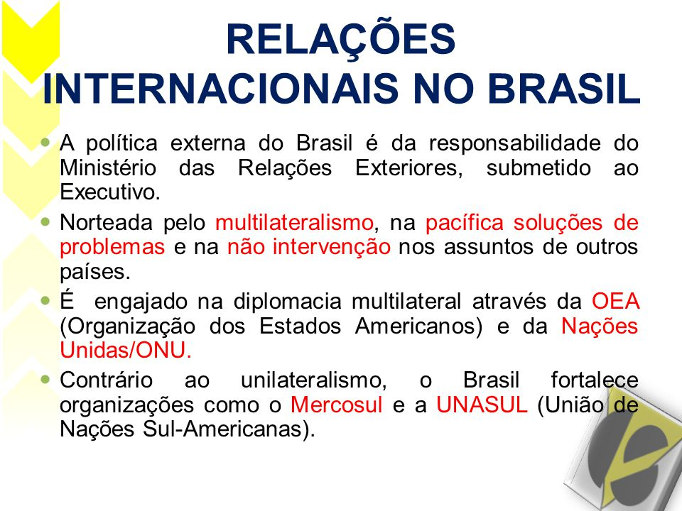 RELAÇÕES INTERNACIONAIS NO BRASIL