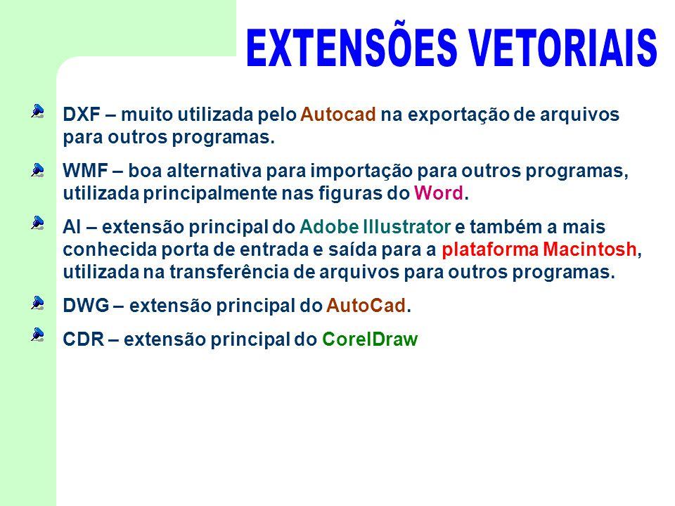 EXTENSÕES VETORIAIS DXF – muito utilizada pelo Autocad na exportação de arquivos para outros programas.