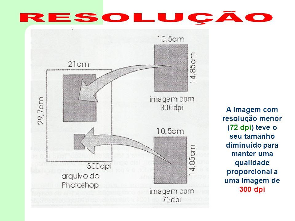 RESOLUÇÃO A imagem com resolução menor (72 dpi) teve o seu tamanho diminuído para manter uma qualidade proporcional a uma imagem de 300 dpi.