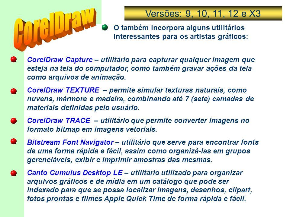 Versões: 9, 10, 11, 12 e X3 CorelDraw. O também incorpora alguns utilitários interessantes para os artistas gráficos: