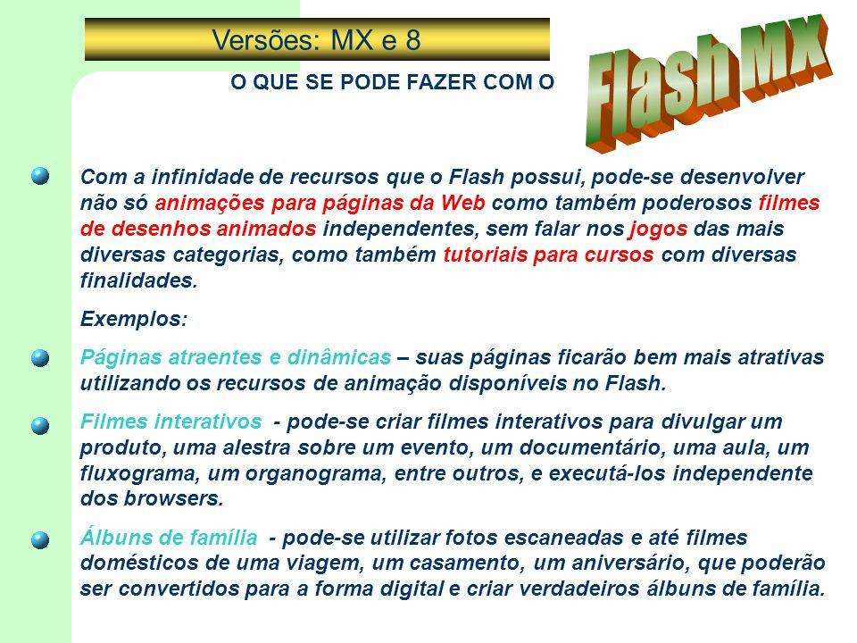 Flash MX Versões: MX e 8 O QUE SE PODE FAZER COM O