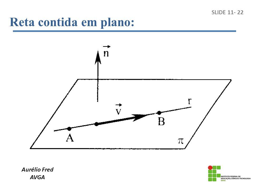 Reta contida em plano: SLIDE 11- 22 Aurélio Fred AVGA