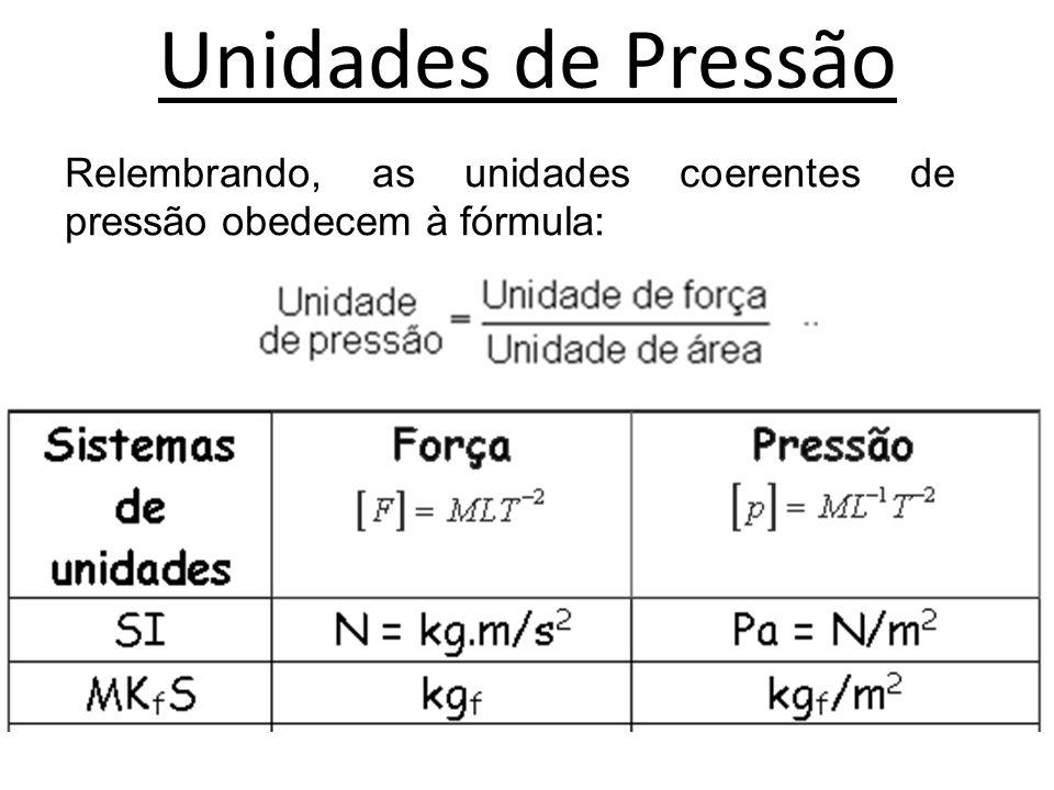 Unidades de Pressão Relembrando, as unidades coerentes de pressão obedecem à fórmula: