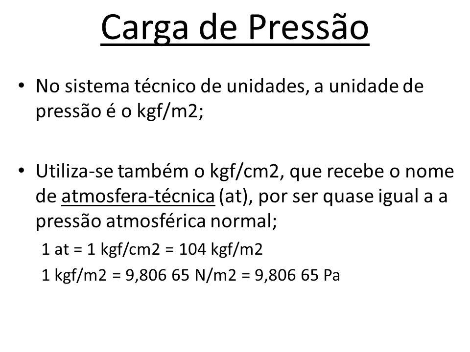 Carga de Pressão No sistema técnico de unidades, a unidade de pressão é o kgf/m2;