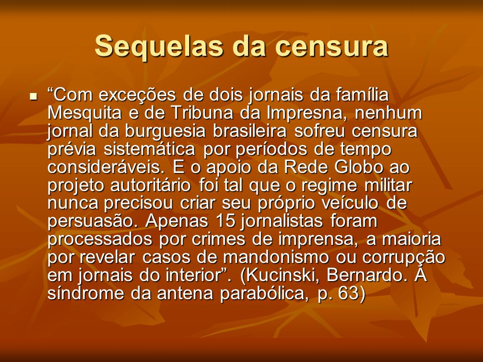 Sequelas da censura