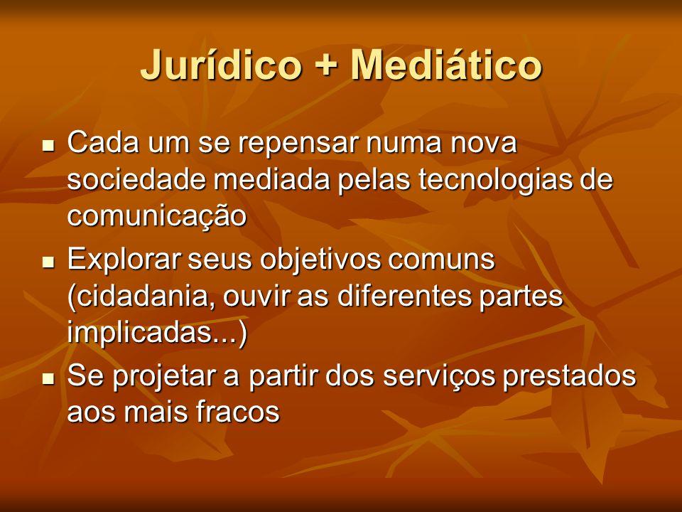 Jurídico + Mediático Cada um se repensar numa nova sociedade mediada pelas tecnologias de comunicação.
