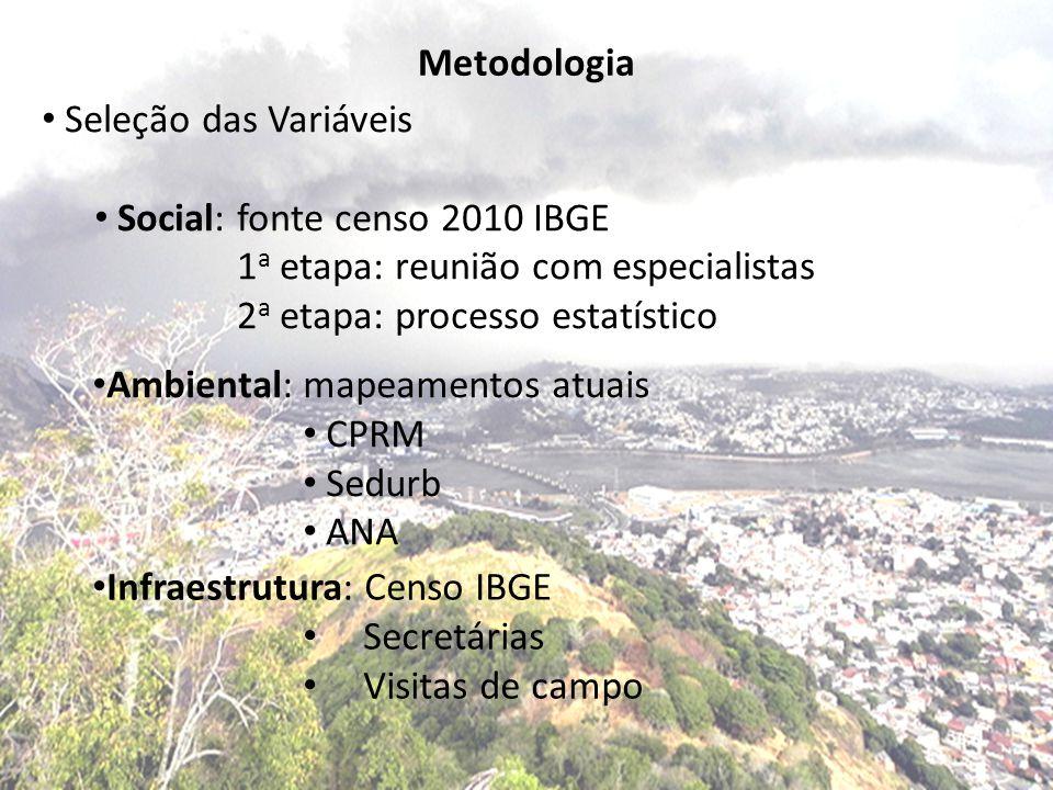 Metodologia Seleção das Variáveis. Social: fonte censo 2010 IBGE. 1a etapa: reunião com especialistas.