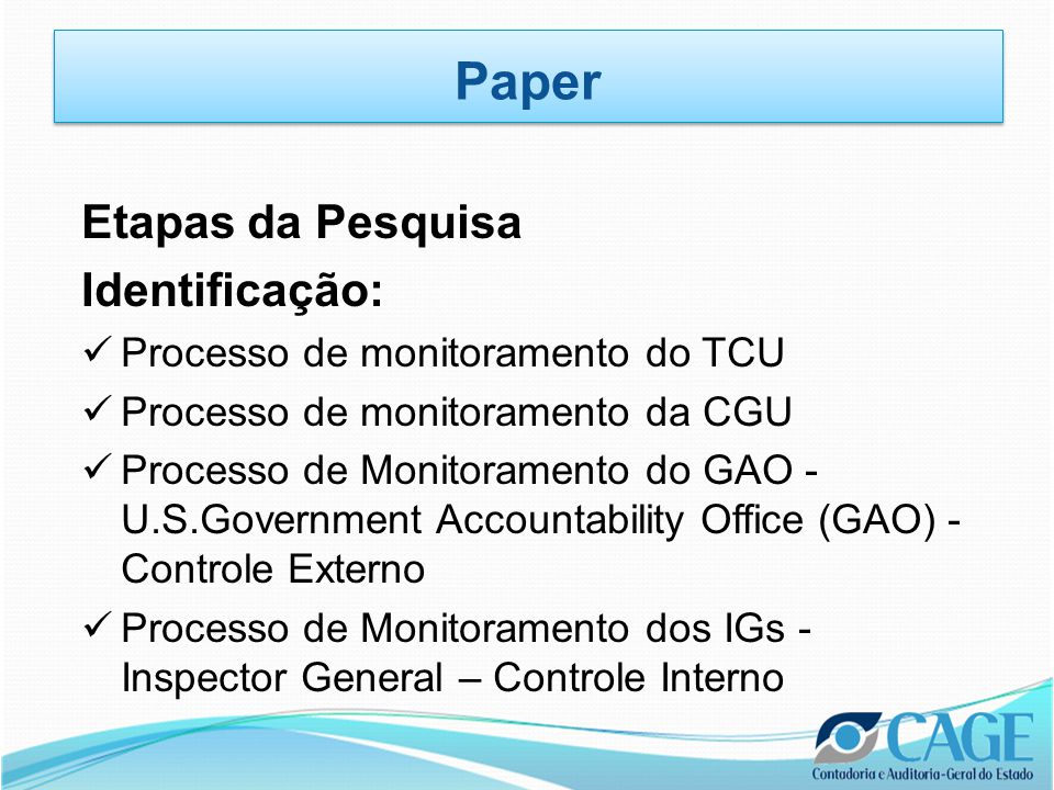 Paper Etapas da Pesquisa Identificação: