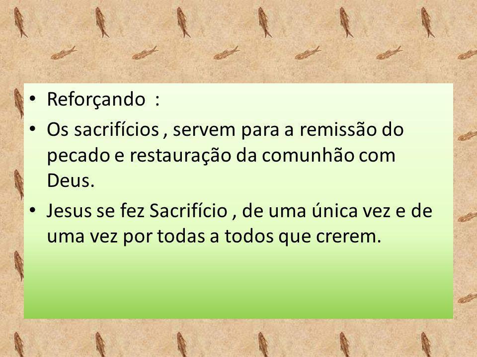 Reforçando : Os sacrifícios , servem para a remissão do pecado e restauração da comunhão com Deus.