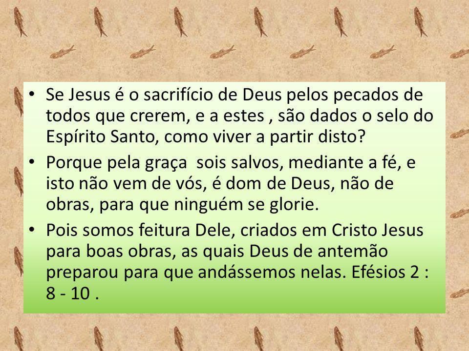 Se Jesus é o sacrifício de Deus pelos pecados de todos que crerem, e a estes , são dados o selo do Espírito Santo, como viver a partir disto