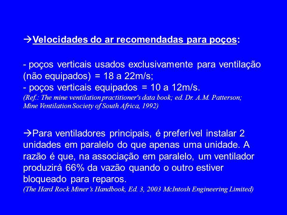 Velocidades do ar recomendadas para poços: