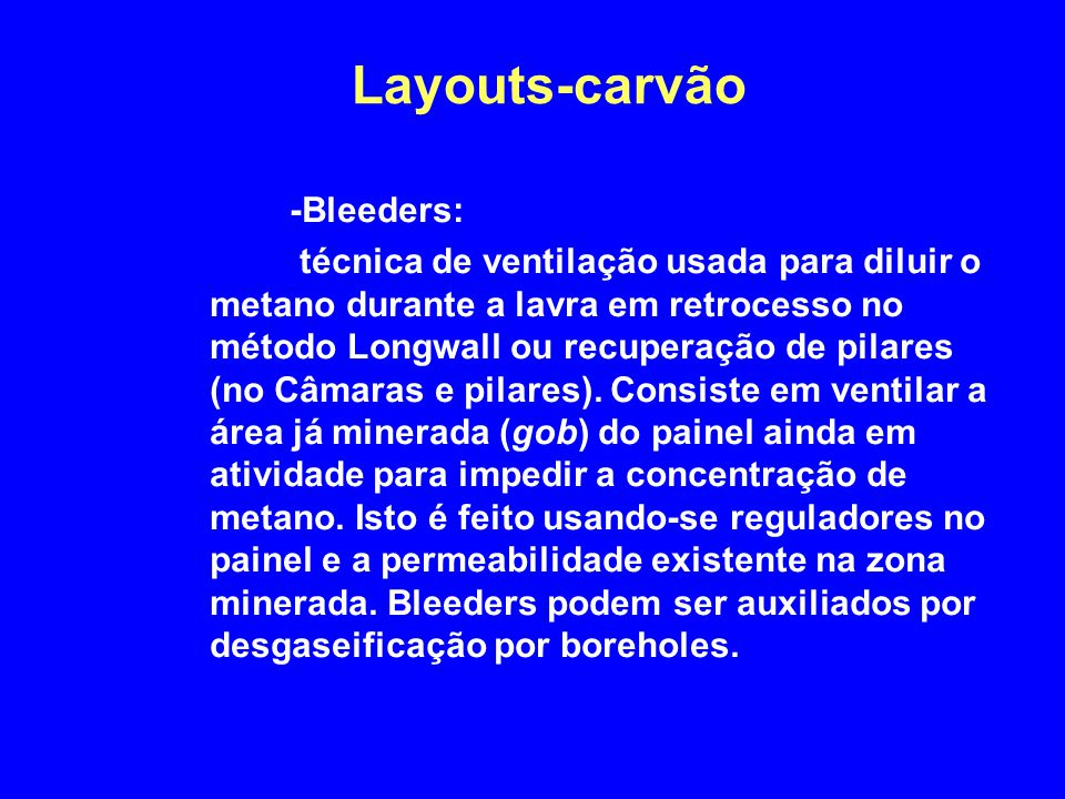 Layouts-carvão -Bleeders: