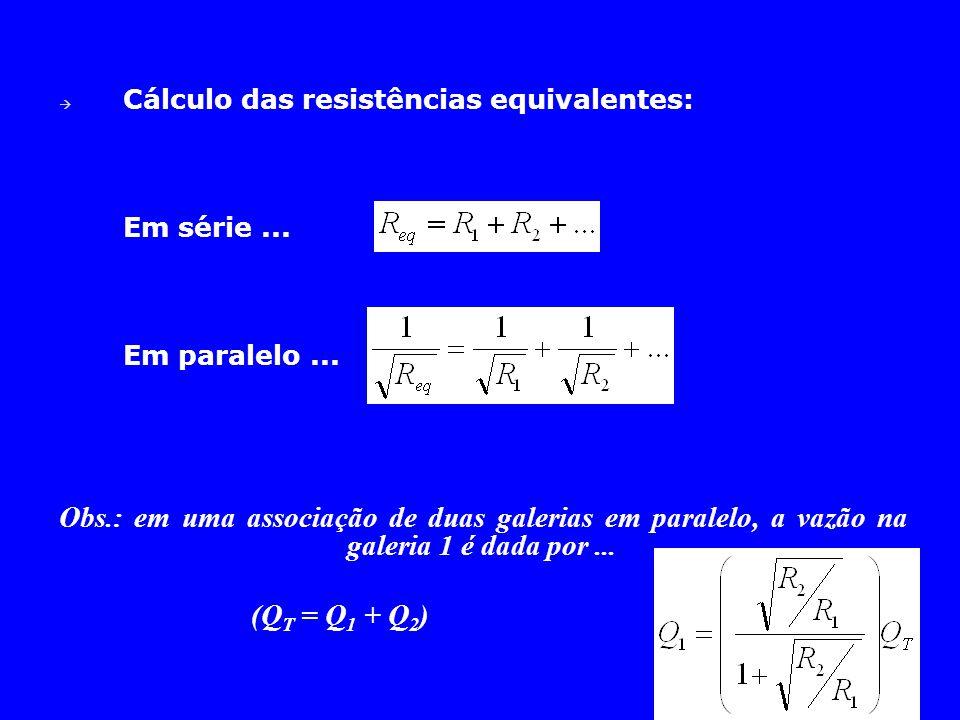Cálculo das resistências equivalentes: