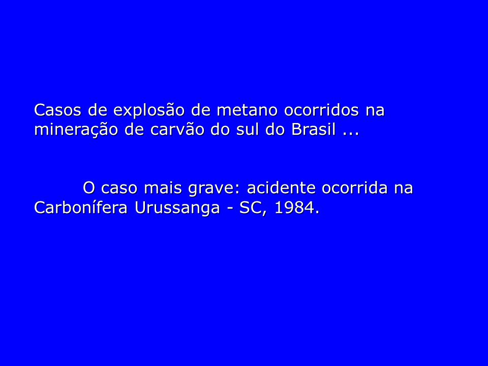Casos de explosão de metano ocorridos na mineração de carvão do sul do Brasil ...