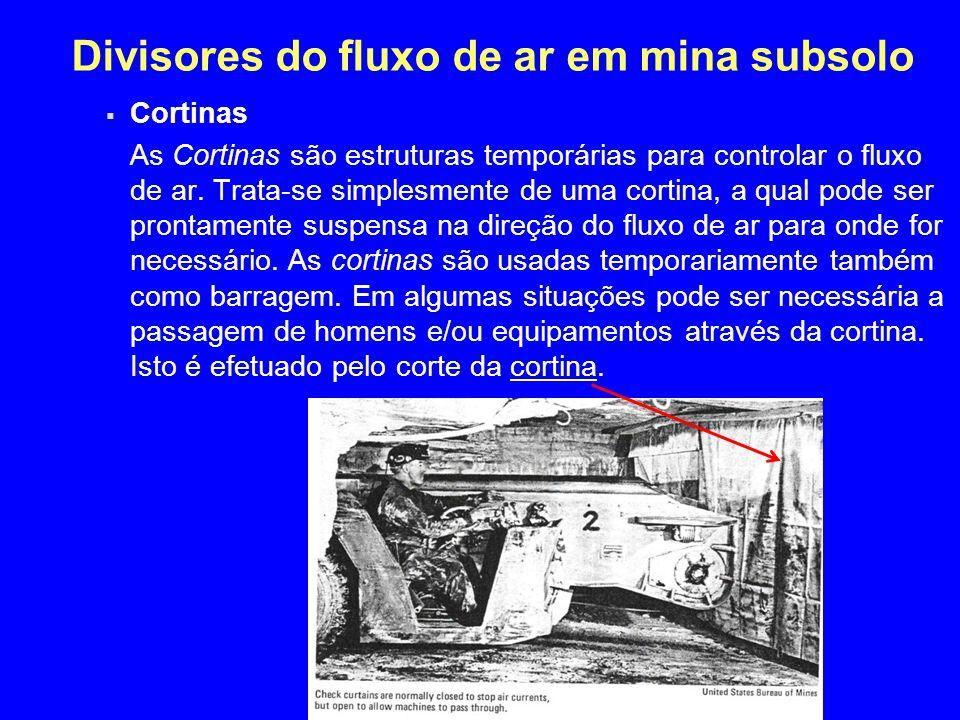 Divisores do fluxo de ar em mina subsolo