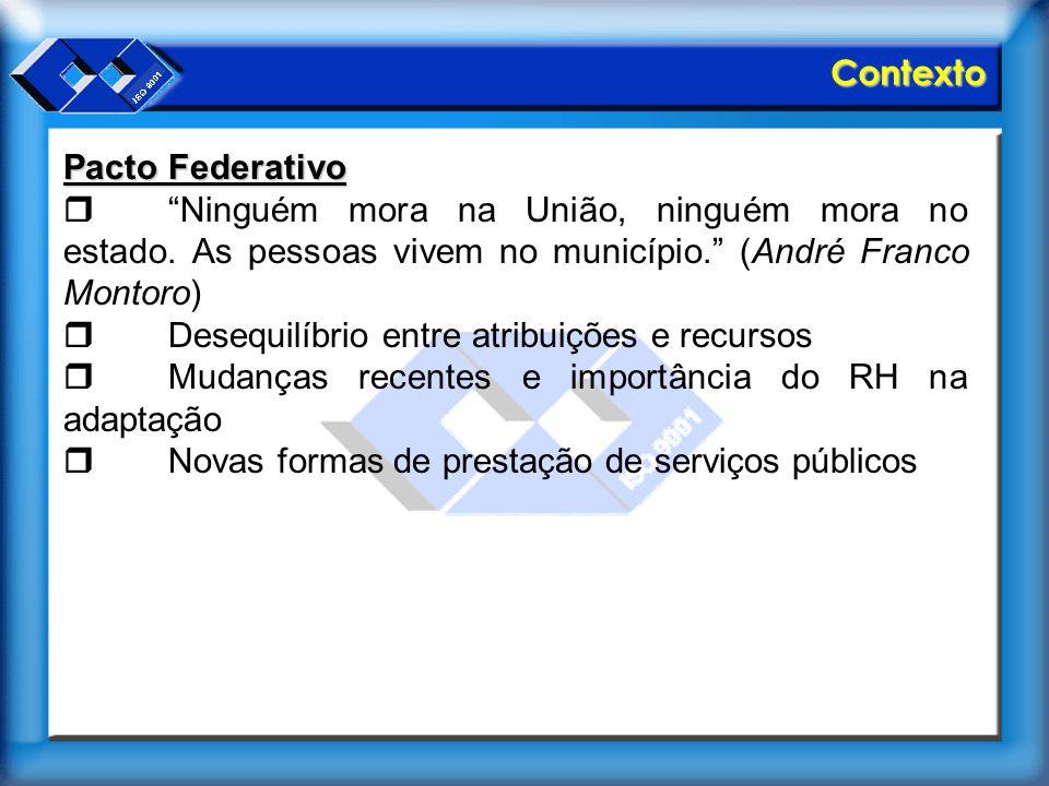 Contexto Pacto Federativo. r Ninguém mora na União, ninguém mora no estado. As pessoas vivem no município. (André Franco Montoro)