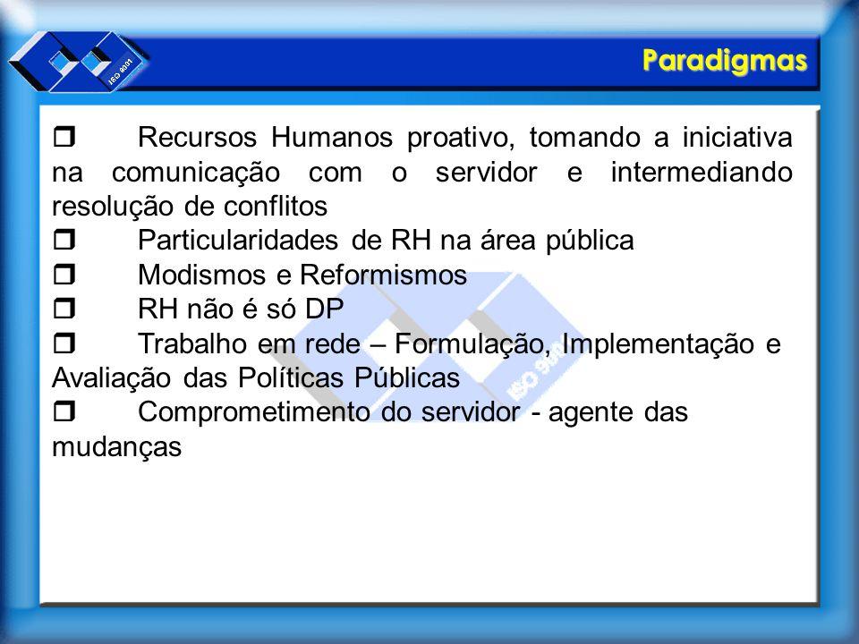 Paradigmas r Recursos Humanos proativo, tomando a iniciativa na comunicação com o servidor e intermediando resolução de conflitos.