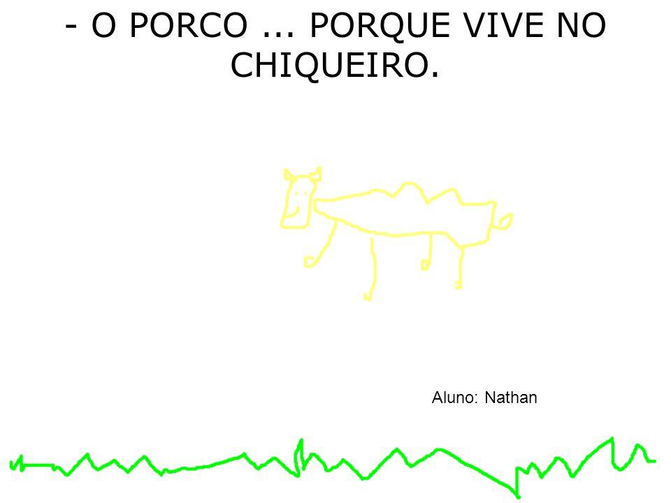 - O PORCO ... PORQUE VIVE NO CHIQUEIRO.