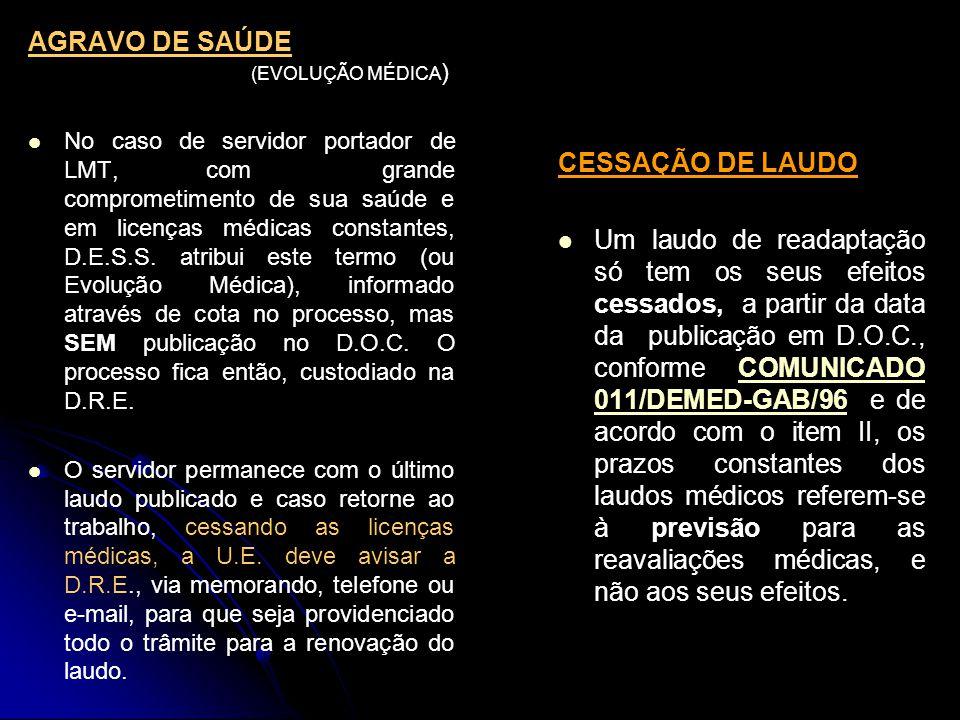 AGRAVO DE SAÚDE (EVOLUÇÃO MÉDICA)