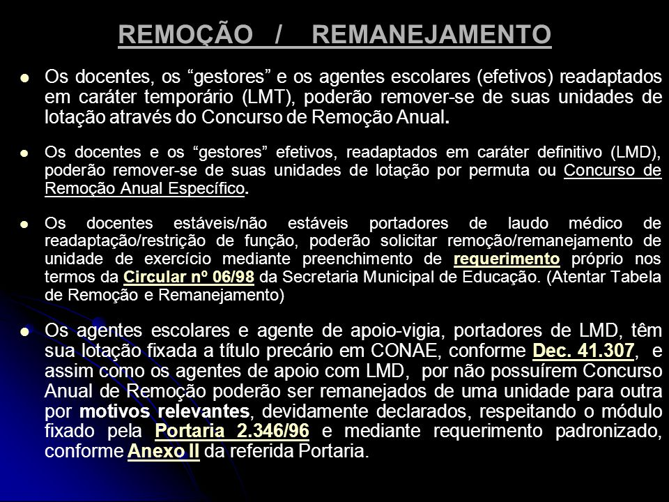 REMOÇÃO / REMANEJAMENTO