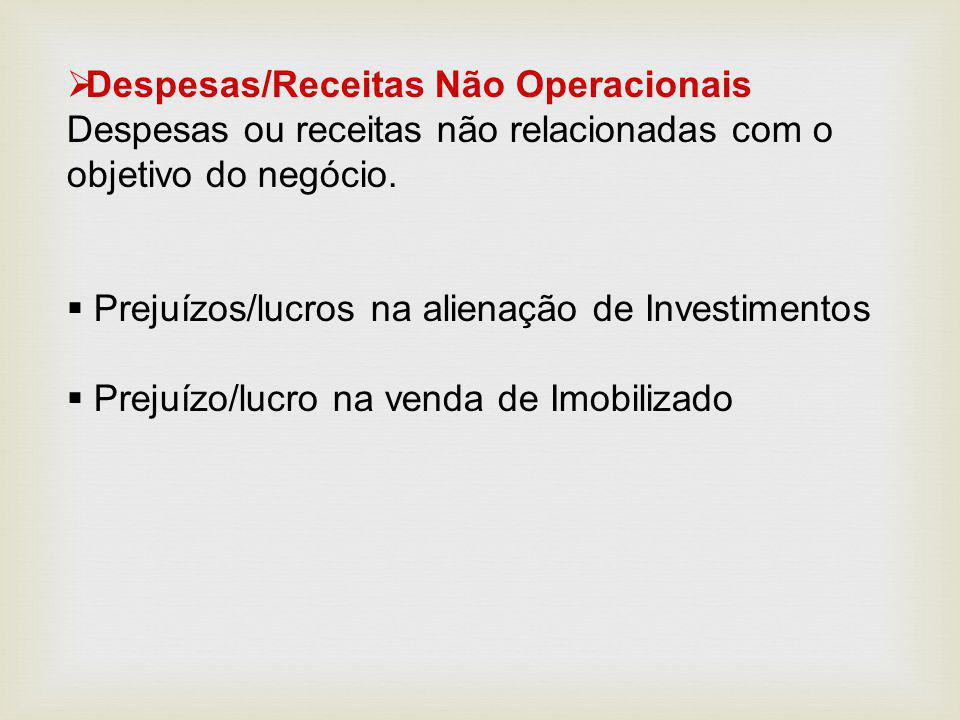 Despesas/Receitas Não Operacionais