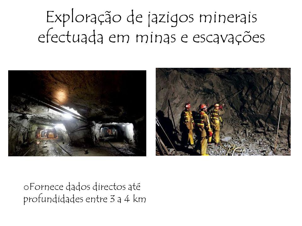 Exploração de jazigos minerais efectuada em minas e escavações