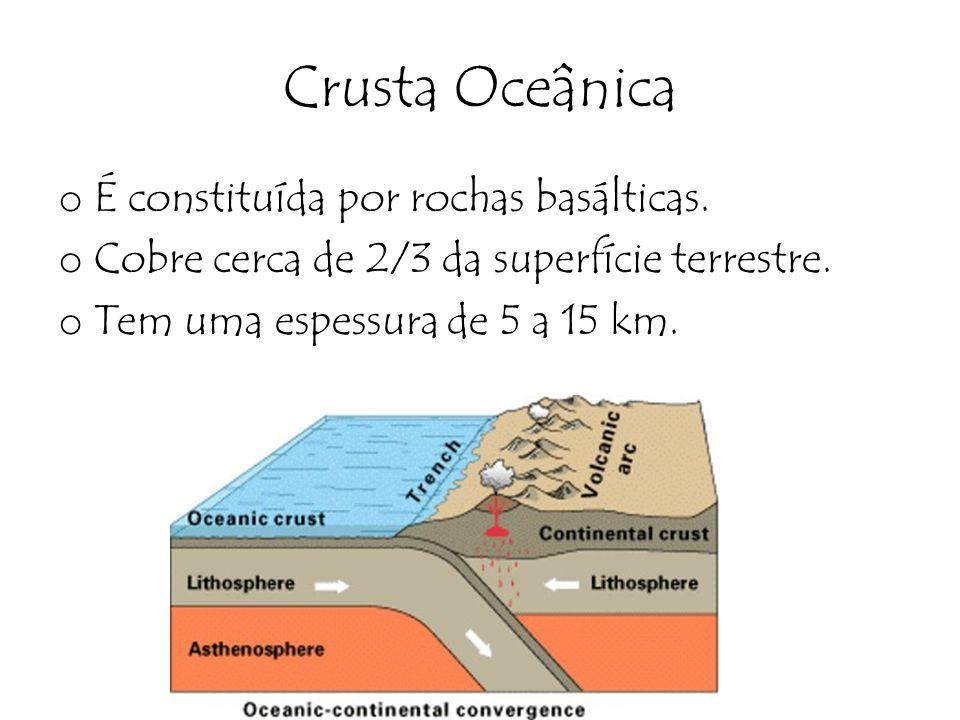 Crusta Oceânica É constituída por rochas basálticas.