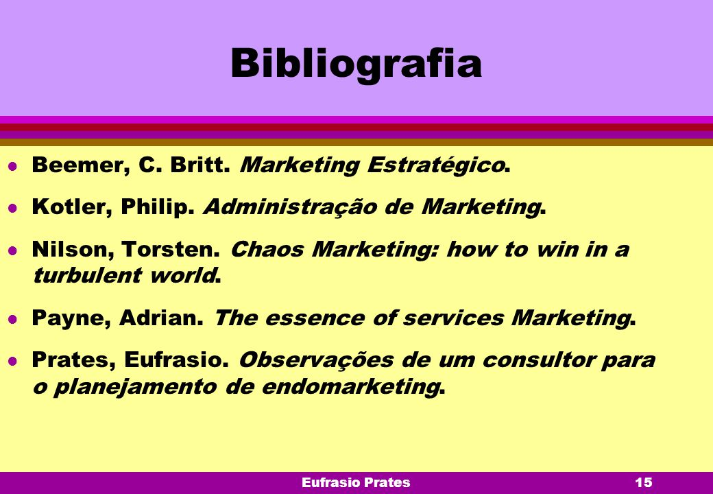 Bibliografia Beemer, C. Britt. Marketing Estratégico.