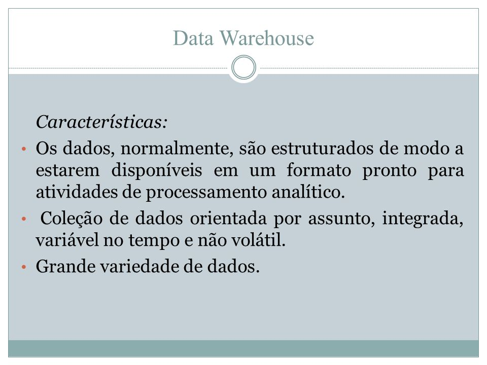 Data Warehouse Características: