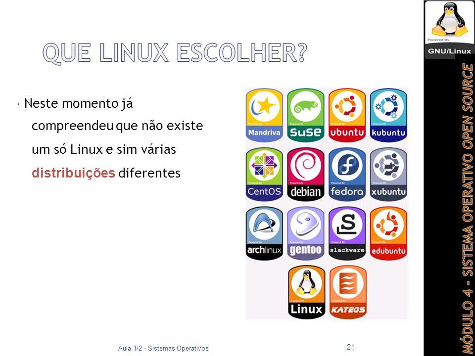 Neste momento já compreendeu que não existe um só Linux e sim várias distribuições diferentes. Aula 1/2 - Sistemas Operativos.