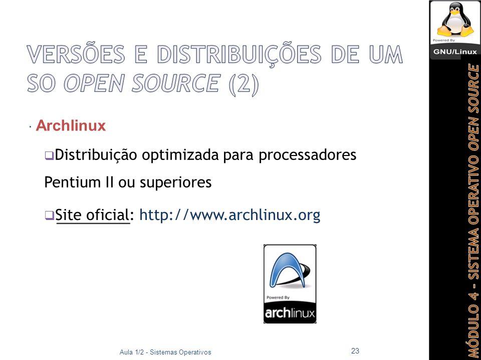 Distribuição optimizada para processadores Pentium II ou superiores