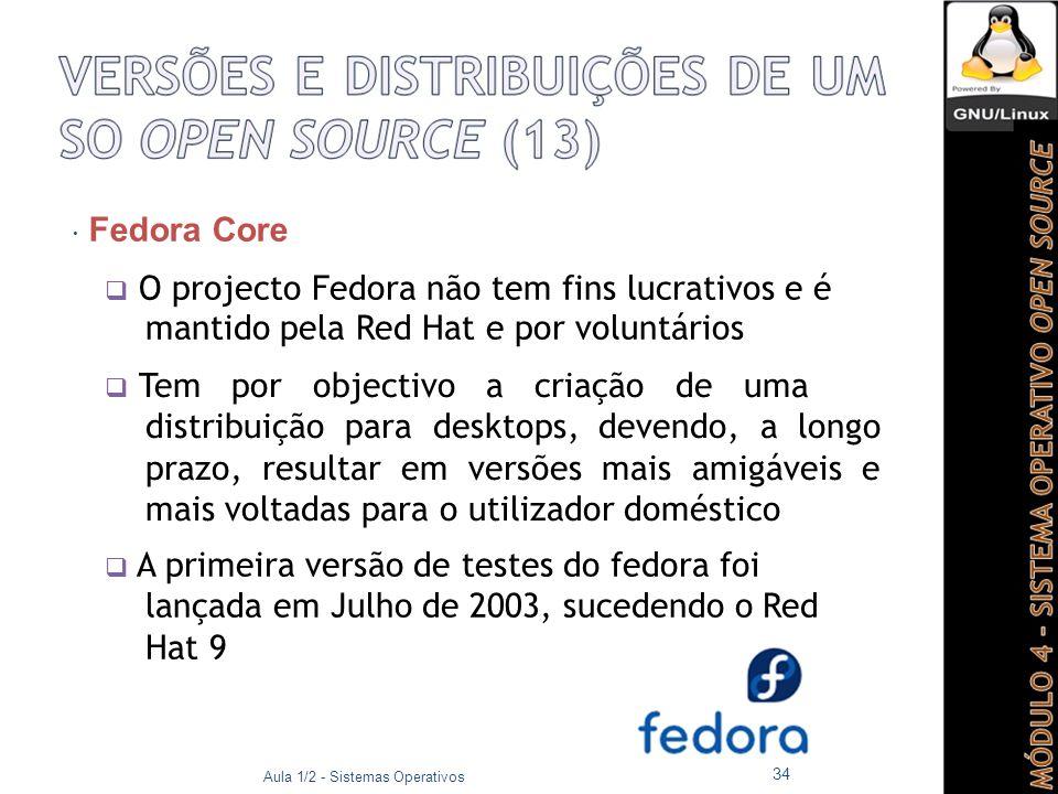  Fedora Core  O projecto Fedora não tem fins lucrativos e é mantido pela Red Hat e por voluntários.