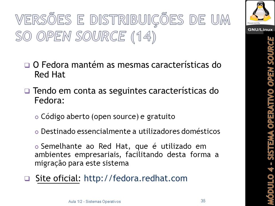  O Fedora mantém as mesmas características do Red Hat