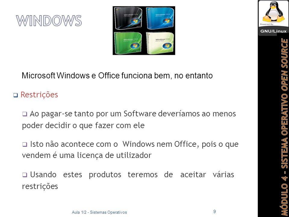 Microsoft Windows e Office funciona bem, no entanto  Restrições