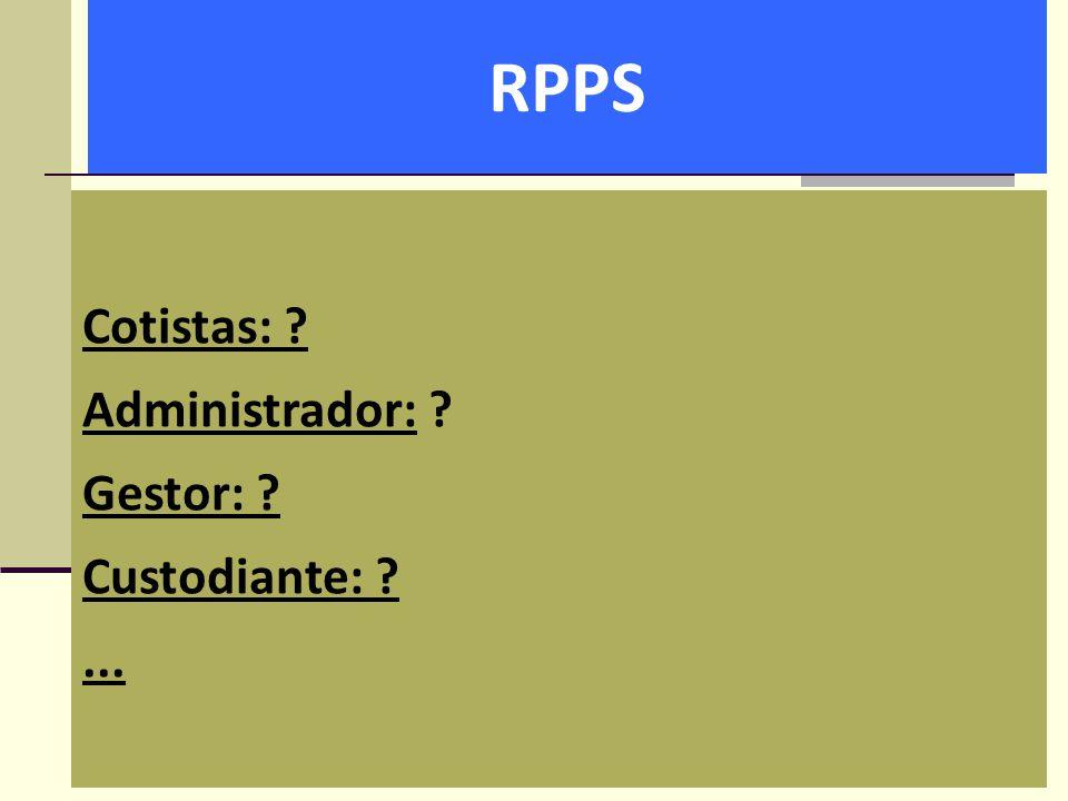 RPPS Cotistas: Administrador: Gestor: Custodiante: ...